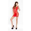 Doorzichtig rood jurkje met open zijkanten