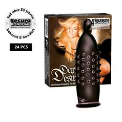 24 Zwarte condooms met noppen