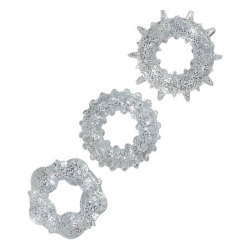 Cockringen met glitters - 3-delige set