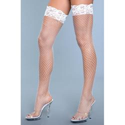 Amber Fishnet Stockings With Lace - Nude -2