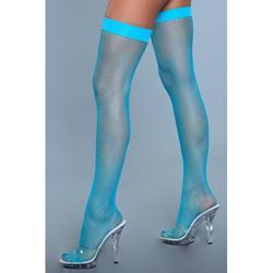 Nylon Fishnet Thigh Highs - Turquoise