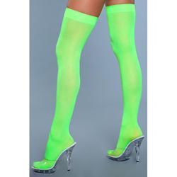 Thigh High Nylon Stockings - Neon Green