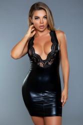 Lassy Wetlook-Kleid mit Spitzendetails - Schwarz