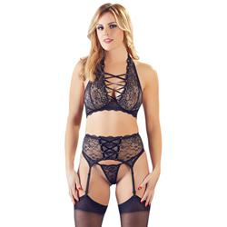 3-Piece Lace Suspender Set