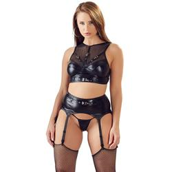 Wetlook Fishnet Suspender Set