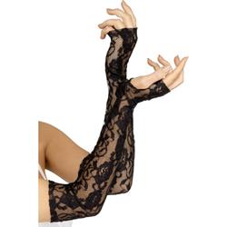 Zwarte vingerloze kanten handschoenen