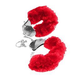 Handboeien met bontrand Rood