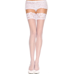 Lace top sheer thigh hi WHITE
