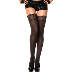 Lace top opaque thigh hi BLACK