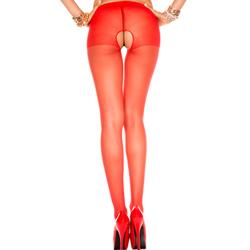 Klassieke Panty Met Open Kruis - Rood