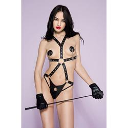Leather-Look Body Harness With Open Crotch