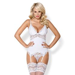 Garter Top With Lace Details - White