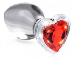 Red Heart Glass Anal Plug With Gem - Medium