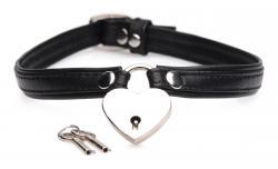 Heart Lock Collar Met Sleutels - Zwart