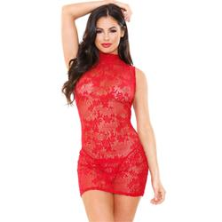 Ariel Lace Dress With Thong - Red -2