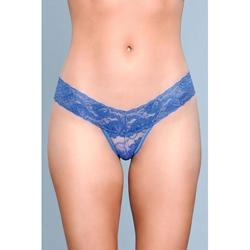 V-Cut Lace Panties - Blue