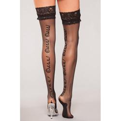 "Stockings With Lace And ""Ooh la la"" Text"