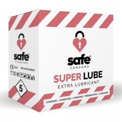 SAFE - Condones con lubricante adicional - Superlube - 5 piezas
