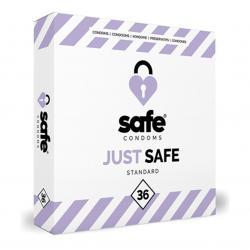 SAFE - Condones con lubricante a base de silicona - Estándar - 36 piezas