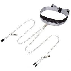 Fifty Shades Of Gray - Satijnen Collar Met Tepelklemmen