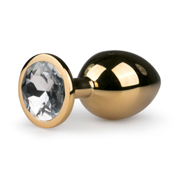 Buttplug aus Metall mit transparentem Zierstein - Goldfarbig