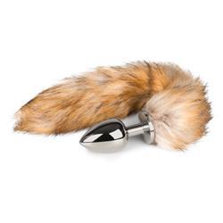 Grote zilverkleurige buttplug met vossenstaart