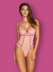 Nudelia Auffälliger Bodysuit - Hautfarben/Pink