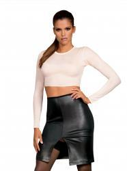 Bossy Top And Faux Leather Skirt 2-Piece Set