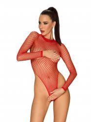 Langärmeliger Netz-Tanga-Bodysuit - Rot