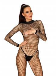 Fishnet Catsuit With Sexy Back - Black