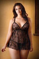 Elena Lace Babydoll With Sexy Thong - Black