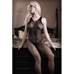 Fishnet Catsuit With Open Crotch - Black