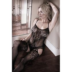 Lace Catsuit With Open Crotch - Black