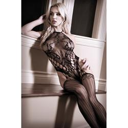 Lace Halter Catsuit - Black