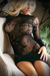 Mini Dress Made From Mesh Fabric With Thong - Black -2
