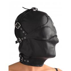 Kappe aus Leder mit abnehmbarer Augen- und Mundklappe