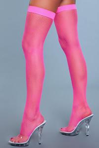 Hoge Nylon Visnetkousen - Neon Roze