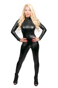 Wetlook Catsuit Met Lange Mouwen