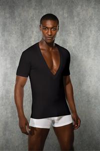 Zwart T-shirt met V-hals