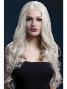 Lange blonde pruik met krul
