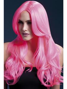 Lange roze pruik met slag