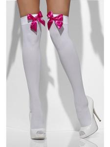 Witte kousen met roze strik