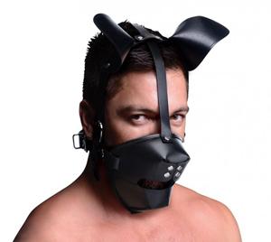 Puppy Play Masker Met Ballgag - Zwart