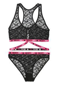Kanten BH-Set Transparant -Zwart/Roze