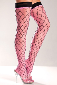 Kousen Met Zwarte Visnet - Roze