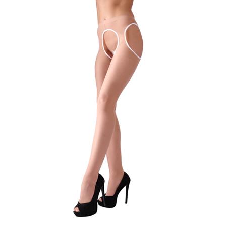 Huidkleurige Panty met Open Kruis