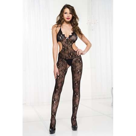 Kanten Catsuit Met Ruches En Cut-Outs