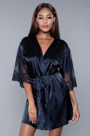 Grace Satijnen Kimono - Zwart
