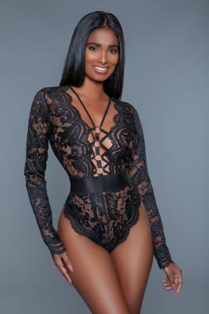 Ramona Kanten Body met Lange Mouwen - Zwart
