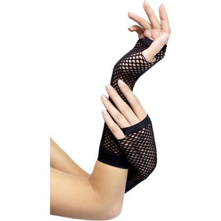 Handschuhe aus Netzmaterial in Schwarz